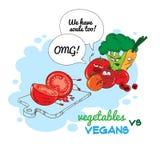 Grönsaker mot strikt vegetarian Arkivbilder