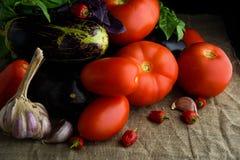 Grönsaker: nya saftiga röda tomater, aubergine, vitlök Arkivbilder