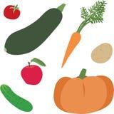 Grönsaker och ett äpple stock illustrationer