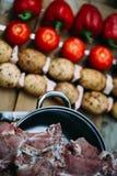 Grönsaker och kött är klara för att laga mat Royaltyfri Fotografi