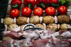 Grönsaker och kött är klara för att laga mat Royaltyfri Bild