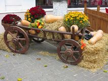 Grönsaker och pumpor på hö i en trävagn, säsongen av H Arkivfoton