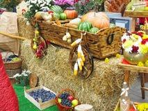 Grönsaker och pumpor på hö i en trävagn, säsongen av H Royaltyfria Foton