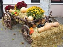 Grönsaker och pumpor på hö i en trävagn, säsongen av H Arkivbilder