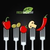 Grönsaker på bakgrund för meny för gaffelmatdesign Royaltyfria Foton