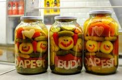 grönsaker på burk Smilies grönsaker Sälja beskydd på mässan På burk grönsaker med inskriften Budapest Arkivbild