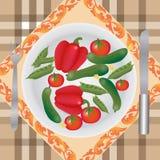 Grönsaker på en plätera Arkivfoto