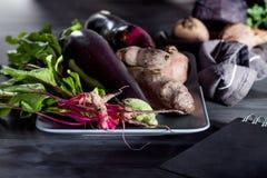 Grönsaker på en platta med anteckningsboken Fotografering för Bildbyråer