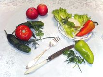 Grönsaker på en tabell, vit bordduk, bestick royaltyfri fotografi
