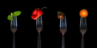 Grönsaker på gaffeln royaltyfri fotografi