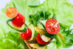 Grönsaker på steknålen Arkivfoto