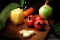 Grönsaker på tabellen Arkivbild