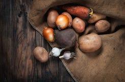 Grönsaker på trä Bio sunda mat, örter och kryddor Arkivbild