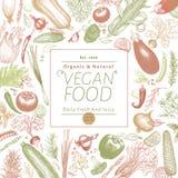 Grönsaker räcker den utdragna vektorillustrationen Retro inristad stilbanerdesign Vara kan bruk för menyn, etiketten som förpacka stock illustrationer