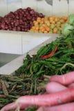 Grönsaker säljs på marknaden (Bhutan) royaltyfria foton
