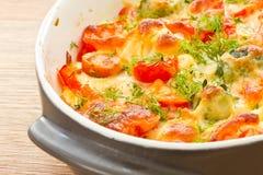 Grönsaker som bakas med ost Royaltyfria Bilder