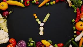 Grönsaker som göras bokstav Y Royaltyfria Bilder