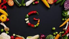 Grönsaker som göras bokstavsG Royaltyfri Fotografi