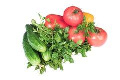Grönsaker som isoleras på en vitbakgrund Arkivfoton