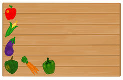 Grönsaker som målas på det Wood tecknet med Copyspace för text royaltyfri foto