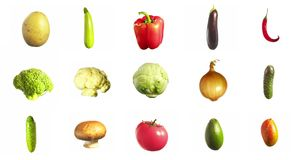 Grönsaker som rotera att rotera som isoleras på vit bakgrund stock video