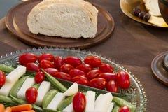 Grönsaker som tjänas som som horderves för matställe Arkivfoton