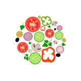 Grönsaker ställde in mat organisk stock illustrationer