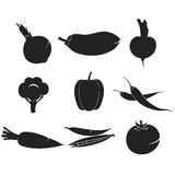 Grönsaker ställde in symboler royaltyfri illustrationer