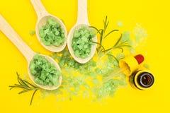 Grönsakingredienser för hudomsorg på en gul bakgrund royaltyfri foto