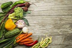 Grönsakingredienser på träbakgrund Royaltyfri Bild