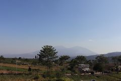 Grönsakkoloni, panorama, gröna fält, berg och himmel royaltyfri bild