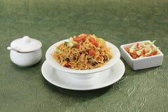 GrönsakManchurian med Fried Rice Royaltyfri Fotografi
