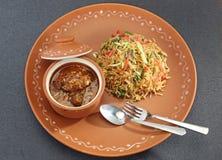 GrönsakManchurian med Fried Rice Royaltyfri Bild