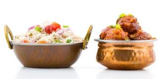 GrönsakManchurian och Fried Rice Royaltyfria Bilder