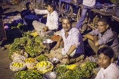 Grönsakmarknad i Jamnagar, Indien Arkivbilder