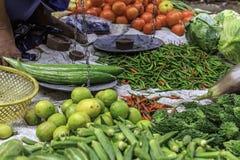 Grönsakmarknad i Kolkata, Indien arkivfoto