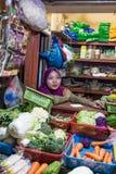 Grönsakmarktet Surabaya i Indonesien Arkivbilder