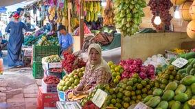 Grönsakmarktet Surabaya i Indonesien Royaltyfri Foto