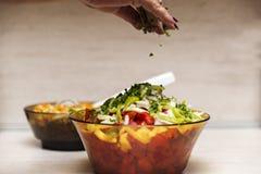 Grönsaksallad i en bunke Fotografering för Bildbyråer