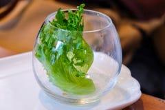 Grönsaksallad i en glass kopp Arkivbild