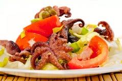 Grönsaksallad med bläckfiskar Arkivbilder