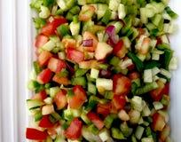 Grönsaksalladsnitt in i fyrkanter Royaltyfri Fotografi