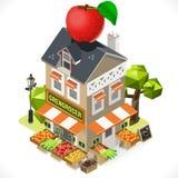 Grönsakshandlare isometriska Shop City Building 3D vektor illustrationer