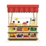 Grönsakshandlare s shoppar med markisen, marknadsplatsen eller räknaren med frukter, grönsaker och prislappar Ställe för att sälj vektor illustrationer