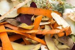 Grönsakskalningar, i composting av högen arkivbilder