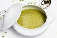 Grönsaksoppa i den vita porslinterrin med silversleven Royaltyfri Foto