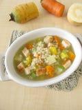 Grönsaksoppa med pärlemorfärg korn och höna royaltyfri foto