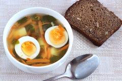 Grönsaksoppa med potatisen, moroten och Ramsons Royaltyfri Bild