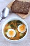 Grönsaksoppa med potatisen, moroten och Ramsons Royaltyfri Fotografi