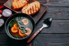 Grönsaksoppa som dekoreras med skivade morötter och grön persilja a royaltyfria bilder